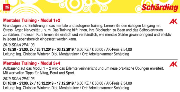 Beschreibung und Inhaltsangabe vom Kurs Mentales Training Modul 1 - 4 VHS Schärding Herbst 2019
